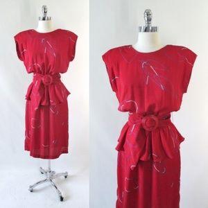 Vintage 80's Red White Blue Peplum Dress